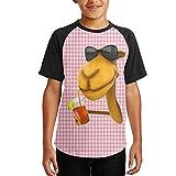 Camel Wearing Glasses Boys Quick-Drying Short Sleeve Round Neck Raglan Baseball T-Shirt