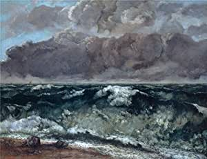 'Gustave Courbet-The Wave,1867-1869' oil painting, 18x23 inch / 46x60 cm ,printed on Cotton Canvas ,this High quality Art Decorative Prints on Canvas is perfectly suitalbe for Living Room decoration and Home gallery art and Gifts