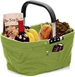 RSVP Green Polyester Collapsible Market Basket with Pocket