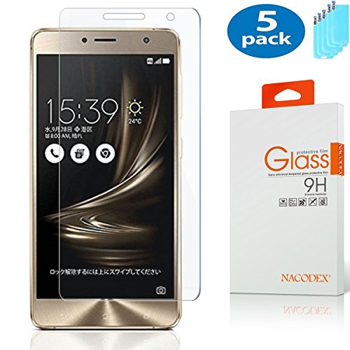 Nacodex [5-Pack] Screen Protector for ASUS Zenfone 3 Deluxe ZS550KL 5.5, Ultra-Thin 2.5D 9H Hardness Crystal Clear Scratch Resistant Tempered Glass Screen Protector