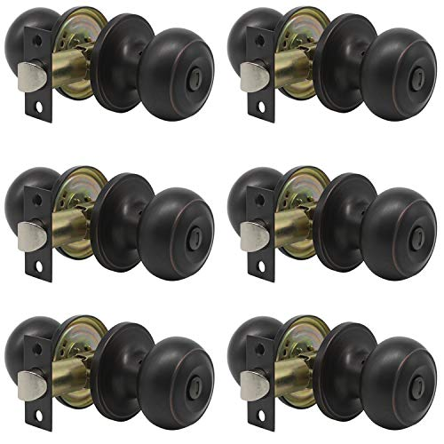 Privacy Door Knob - Probrico Privacy Door Knob Handles Bed and Bath Keyless Leversets Oil Rubbed Bronze Lockset 6 Pack