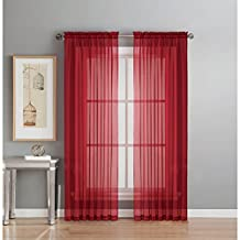 Window Elements Diamond Sheer Voile Extra Wide Rod Pocket Curtain Panel, 56 x 84-Inch, Red