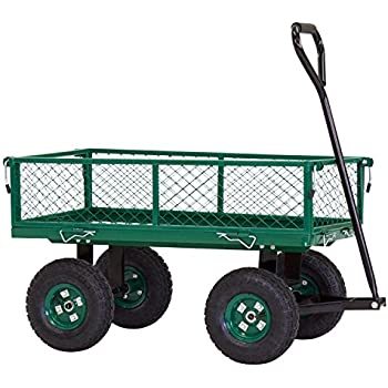Amazon.com : ArmPro Steel Garden Cart with Removable Sides, Heavy ...