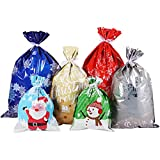 Cabilock 30pcs Christmas Gift Wrapping Bags Holiday Treats Bags Christmas Party Favor Pouch Goody Bags with Ribbon Ties: more info