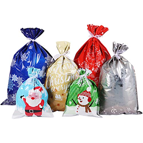 Cabilock 30pcs Christmas Gift Wrapping Bags Holiday Treats Bags Christmas Party Favor Pouch Goody Bags with Ribbon Ties