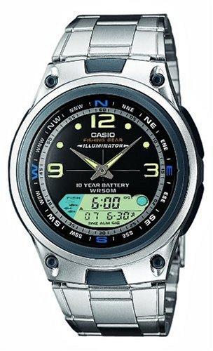 Casio AW-82D-1AVEF - Reloj analógico y digital de cuarzo para hombre con correa de acero inoxidable, color plateado: Amazon.es: Relojes
