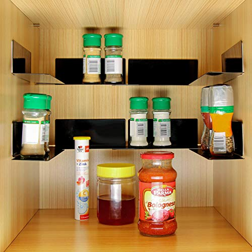 Spice Rack - Self Adhesive Storage Organizer, Stackable Metal Shelf for Kitchen Cabinet, Holds 40 Jars, Easy to Install - 8 Pack