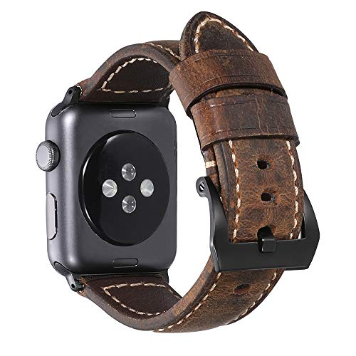 iStrap Compatible/Replacement for Apple Watch 42mm 38mm 40mm 44mm Handmade Asso Padded Leather Black PVD Clasp Watch Bands Strap for iwatch Series 4 Series 3 Series 2 Series 1