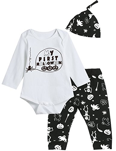 3PCS Baby Boys' My First Halloween Pumpkin Outfit Set Long Sleeve Bodysuit (12-18 Month) ()
