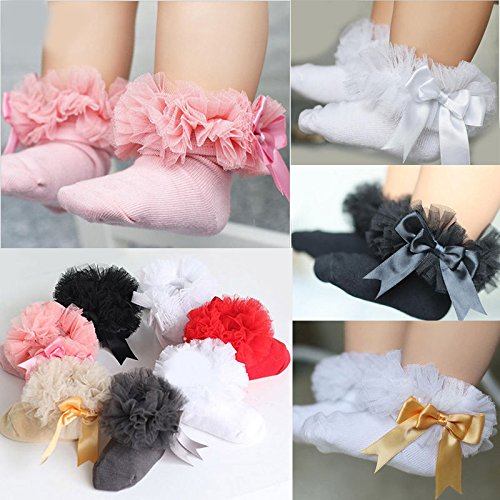 ONE'S Newborn Infant Baby Toddler Girls Princess Bowknot Lace Ruffle Frilly Trim Ankle Sock (0-2 Years, Black) by ONE'S (Image #5)