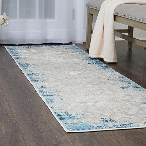 Home Dynamix Palmyra Piet Runner Area Rug 2 2 x7 9 , Distressed Blue