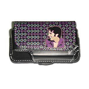 Elvis Horizontal PU Pouch Design with Circles for Motorola V3, BlackBerry, and iPhone 3G/3GS - Black, Light Brown, and Pink