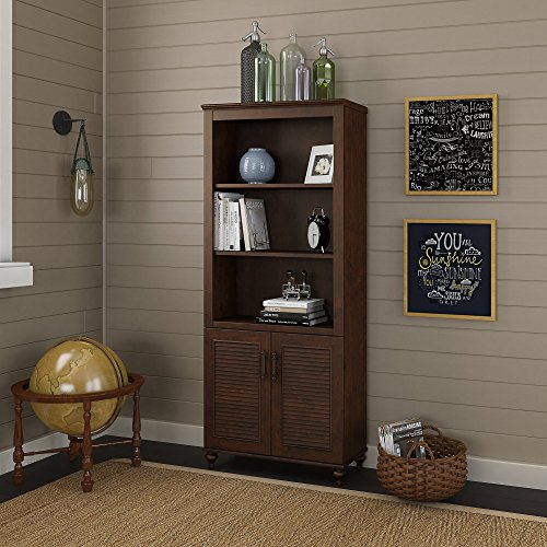 (kathy ireland Home by Bush Furniture Volcano Dusk Bookcase with Doors in Coastal Cherry)