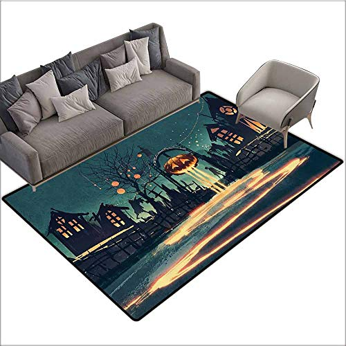 Polyester Non-Slip Doormat Rugs Colorful Fantasy Art House Decor,Halloween Theme Night Pumpkin and Haunted House Ghost Town Artful,Teal Orange 80