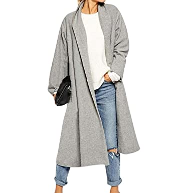 Schönheit Mode moderate Kosten Damen Mäntel, Damen Mode Langarm Open Front Trenchcoat Lange ...