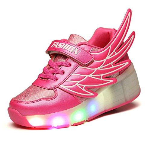 Kids diseño de alas de Youth Boy Light Up Ruedas Roller Zapatos LED Patines Sneakers, Rosado Shocking
