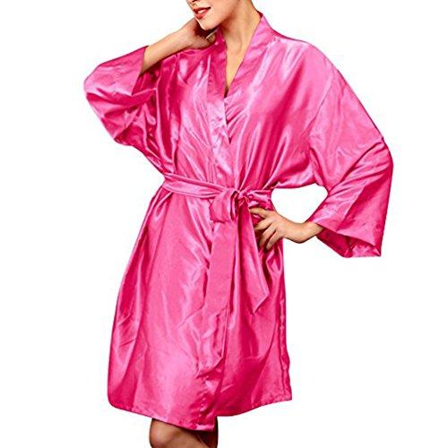 Rose Red Abiti Donne Taglia Chiffon Notte Colore Accappatoio Seta Pigiami Vestiti Vestaglia Raso Elegante normale Affascinante Loungewear Kimono Media TieNew aUw0qdCHw