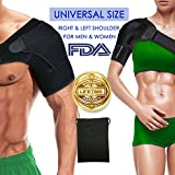 Shoulder brace Sleeve Shoulder Cuff with Pressure Pad Adjustable Breathable Neoprene shoulder support brace for Rotator Cuff AC Joint Dislocated Shoulder or Sprains for Right & Left Shoulder Men Women