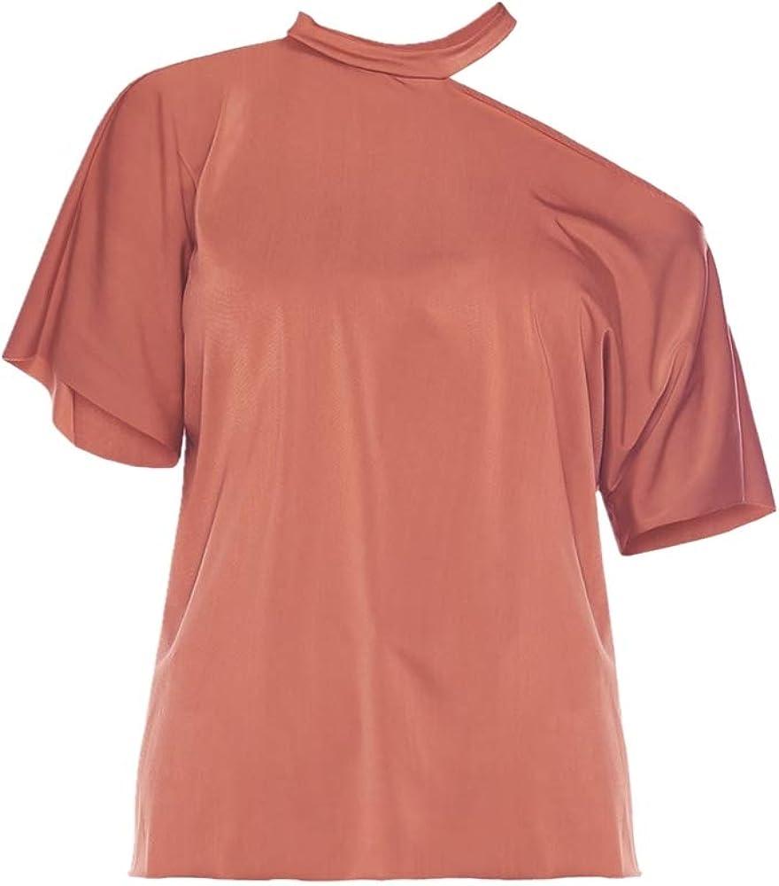Camiseta Cuello Redondo Casual Cold Shoulder Blusa Noche Fiesta Tops, Halter sin Tirantes Camisa Manga Corta Frijol Pasta Rojo S: Amazon.es: Ropa y accesorios
