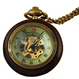 VIGOROSO Men's Retro Vintage Wood Bronze Skeleton Steampunk Hand Winding Antique Gifts Pocket Watch