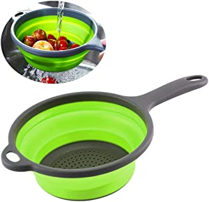 Koksi Silicone Colander Collapsible Food Strainer Basket with Handle Drain Water Collapsible Steamer BPA Free Plastic for Draining Fruit Vegetable Pasta Foldable Silicone Filter Basket