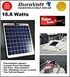 """Solar Battery Charger - 16.6 Watt 1 Amp - Boat, RV, Marine & Trolling Motor Solar Panel - 12 Volt - No experience Plug & Play Design. Dimensions 14.1"""" L x 15.7"""" W x 1/4"""" Thick. 10' cable."""