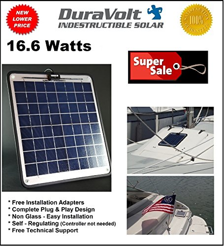 Solar-Battery-Charger-166-Watt-1-Amp-Boat-RV-Marine-Trolling-Motor-Solar-Panel-12-Volt-No-experience-Plug-Play-Design-Dimensions-141-L-x-157-W-x-14-Thick-10-cable