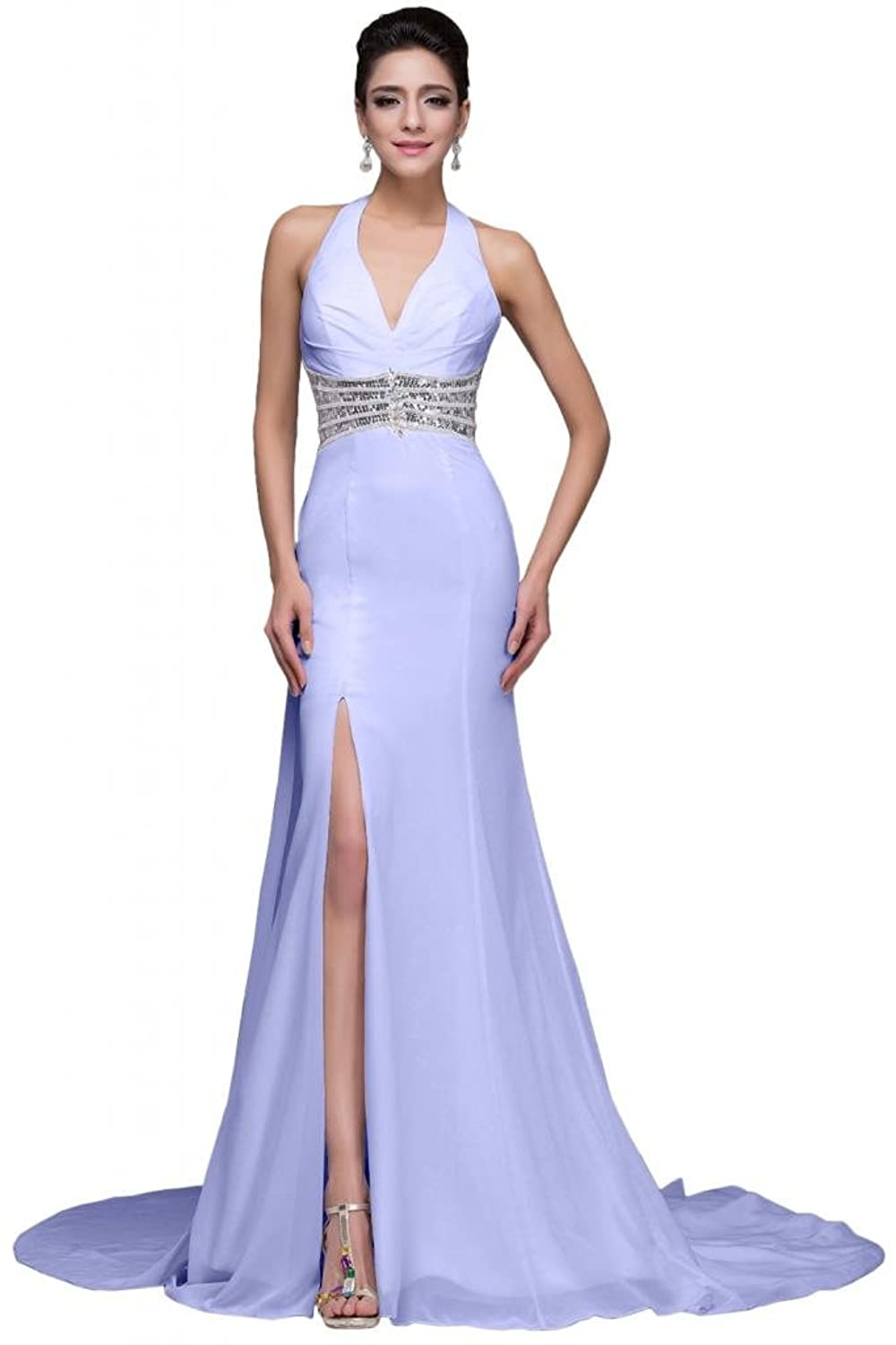 Sunvary Halter Sequined Sexy Front Slit Trailing Prom Pageant Dresses for Women
