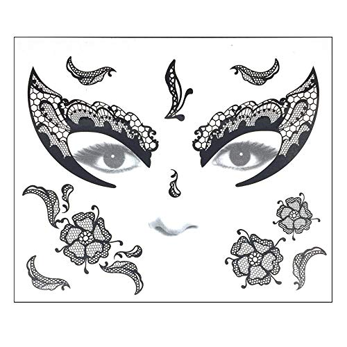 - Weite Facial Skull Temporary Tattoos, 9 Style Makeup Stickers Masquerade Day of The Dead Skull Stickers Halloween Terror Scar Wound Tattoo Kit for Women Men (C)