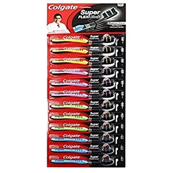 Colgate cepillo de dientes Super FLEXI, mango de color negro (paquete de 12 + 1) limpiador de lengua de plástico de tamaño mediano: Amazon.es: Hogar