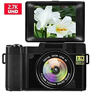 Digital Camera Vlogging Camera with Flip Screen for YouTube 24MP 3.0 Inch 2.7K Camera with Retractable Flashlight