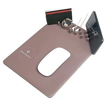 Alfombrilla de Ratón, Qi Cargador Inalámbrico Cojín de ratón, Almacenamiento caja, Soporte de movil Mouse Pad para iPhone 8 Plus X Samsung Galaxy S8 ...