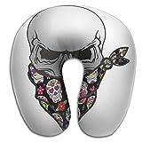 Nicokee Multifunctional Neck Pillow Mexican Skull Bandana U-Shaped Soft Pillows Portable for Sleeping Travel