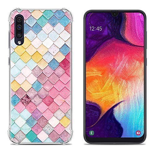 Samsung Galaxy A50 Case,Only Stars Pattern Design,Slim Soft & Flexible TPU Rubber Silicone Shockproof Anti-Scratch Cover Case for Samsung Galaxy A50 (Colorful Scale)