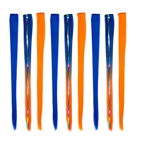 Color Me Quick Holiday Costume Color Hair Extension Highlights - Clip-In, 9 Pack, Blue & - Blue And Mix Orange