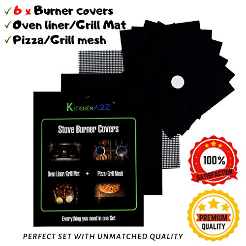 Stove Burner Covers 6 PCs + Oven liner (Grill Mat) + Grill Mesh Mat by KitchenA2Z | Non-stick Premium Heavy Duty |Triple thickness 0.3mm|Reusable|Dishwasher safe|Size adjustable|BPA FREE|FDA approved