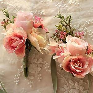 Artificial Dried Flowers - 2pcs Set Wedding Decoration Mariage Rose Wrist Corsages Hand Flower Silk Lace Artificial Brides - Flowers Artificial Dried Artificial Dried Flowers Jewelry Rose F 64