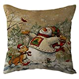 Pgojuni Throw Pillow Cases Christmas Linen Sofa Throw Cushion Cover Home Decor 1pc 45cmx45cm (N)