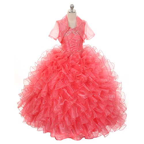 Rain Kids Little Girls Coral Sequin Sparkly Ruffle Bolero Pageant Dress 4 by The Rain Kids