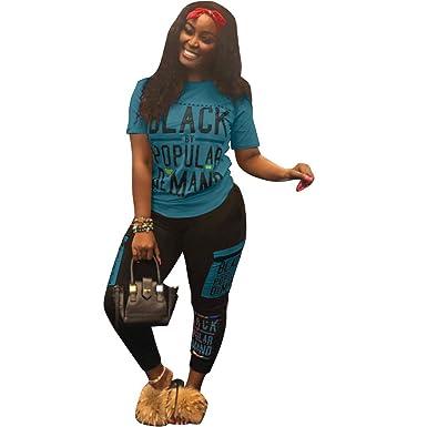 fa18e74ac94 Womens Plus Size Tracksuit 2 Piece Outfits Letter Print Crop Top Pants  Joggers Blue