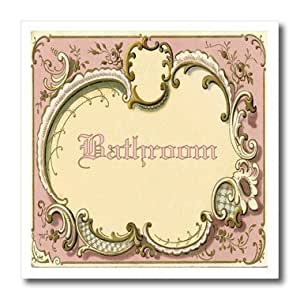 ht_163390_3 Florene Décor II - Image of French Vintage Bathroom Sign In Pink And Green - Iron on Heat Transfers - 10x10 Iron on Heat Transfer for White Material