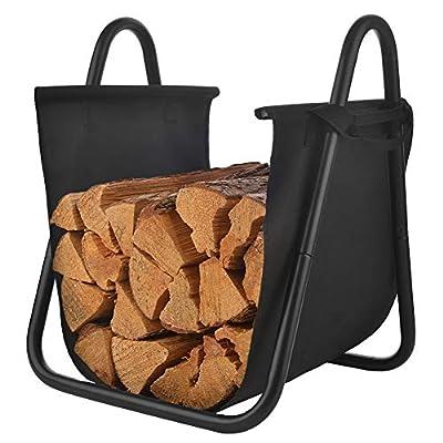 Patio Watcher Deluxe Firewood Rack Log Rack Firewood Storage Log Holder for Indoor Outdoor Backyard Fireplace Heavy Duty Steel Black