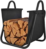Patio Watcher Firewood Rack Log Holder Wood Storage Holder with Canvas Tote Carrier for Indoor Fireplace Outdo
