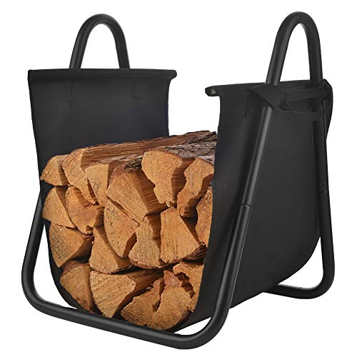 PATIO WATCHER Firewood Rack Log Holder Wood Storage Holder with Canvas Tote Carrier for Indoor Fireplace Outdoor Backyard (Large Indoor Rack Firewood)