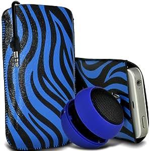 Sony Xperia Z1 compacto premium protector Cebra PU tracción Piel Tab Slip In Pouch Pocket Cordón piel cubierta de la caja de liberación rápida y Mini recargable portátil de 3,5 mm Cápsula Viajes Bass Speaker Jack Blue & Negro por Spyrox