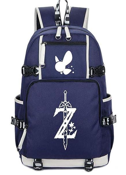 Cosstars The Legend of Zelda Juego Luminoso Mochila Escolar Estudiante Bolso de Escuela Backpack Mochila para Portátil Azul-1
