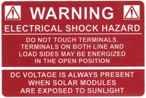 HellermannTyton 596-00232 Pre-Printed Solar Label, 3.75 X 2.5, WARNING: ELECTRICAL SHOCK HAZARD, Red (Pack of 50) by Hellermann Tyton