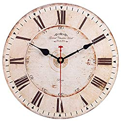 SkyNature Home Decor Clock, Large Roman Numerals Silent Non-Ticking Battery Operated Quartz Movement, Rustic Wooden Clock for Living, Dining, Bedroom, Kitchen - 12 Inch, Vintage White