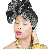 DESIGN 18 Black & White Head Wrap   100% Cotton HEAD SCARF   Royal Head Wraps