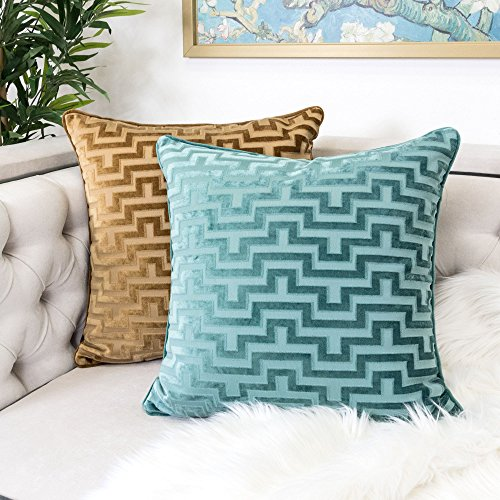 Homey Cozy Modern Velvet Maze Throw Pillow Cover,Spa Green Luxury Soft Fuzzy Cozy Warm Slik Decorative Square Couch Cushion Pillow Case 20 x 20 Inch, Cover Only